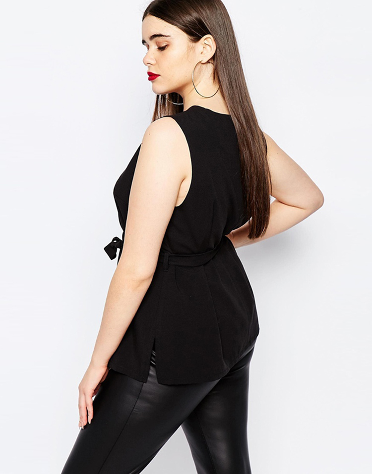 02 KMp233 Women peplum top Sleeveless Tops Slim Black Tank top chiffon sexy slim (4)
