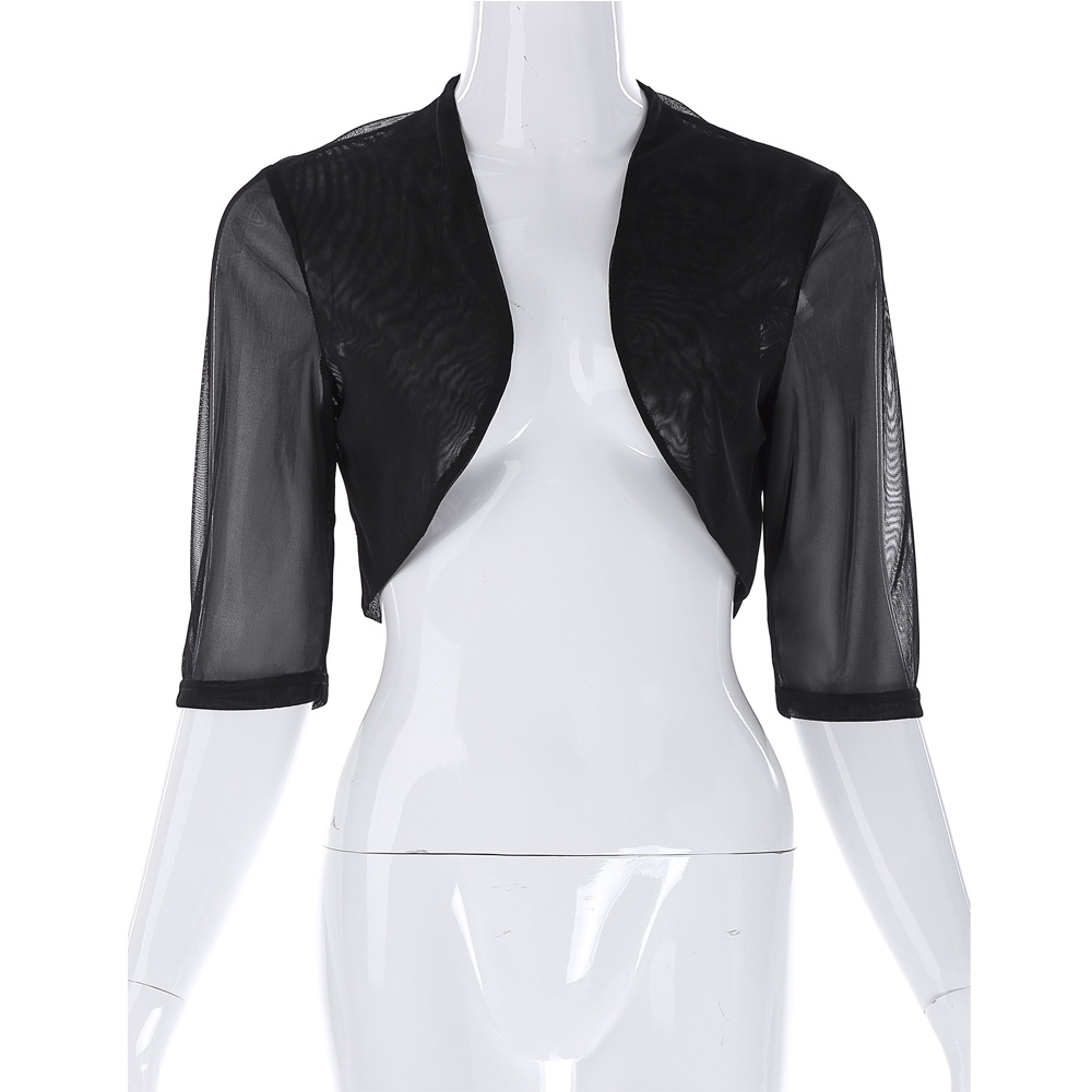 2017 New Fashion Women Chiffon Jacket Half Sleeves Cropped Short Bolero Shrug Casual Black White Solid Good Quality Design Coat