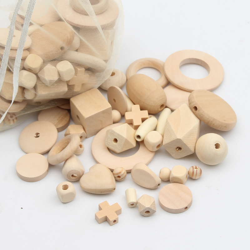 150pcs Natural Wood Beads Random Mix Safety Wood Beads for Jewelry Making DIY Baby Pacif ...
