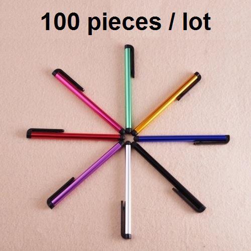 bilder für Großhandel (100 teile/los) handy kapazitiven stylus mit staubstecker für iphone ipad tablet & samsung htc 10,4 cm touch pen