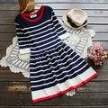 Полосатый вязание хлопок o-образным вырезом половины рукав мори девушка сладкий Бальное платье 2016 осень