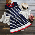 striped knitting cotton o-neck half sleeve  mori girl sweet Ball Gown dress  2016 autumn