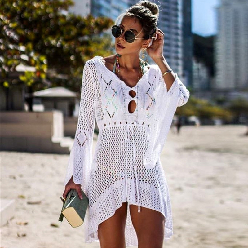 2020 Crochet Cover Up Lace Hollow Swimsuit Beach Dress Women Summer Lady Cover-Ups Bathing Suit Beach Wear Tunic Bikini Blouse
