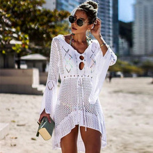 2020 Crochet Cover Up Lace Hollow Swimsuit Beach Dress Women Summer Lady Cover-Ups Bathing Suit Beach Wear Tunic Bikini Blouse bikini cover up lace hollow crochet swimsuit women swimsuit cover ups summer ladies solid white bathing suit beach wear cover up