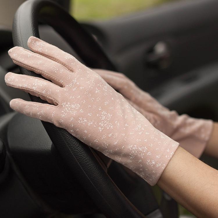 Lady Sunshade Gloves Mittens Female Summer Touchscreen Broken Flowers Girls Anti Slip Luva Feminina Driving Gloves B-8326