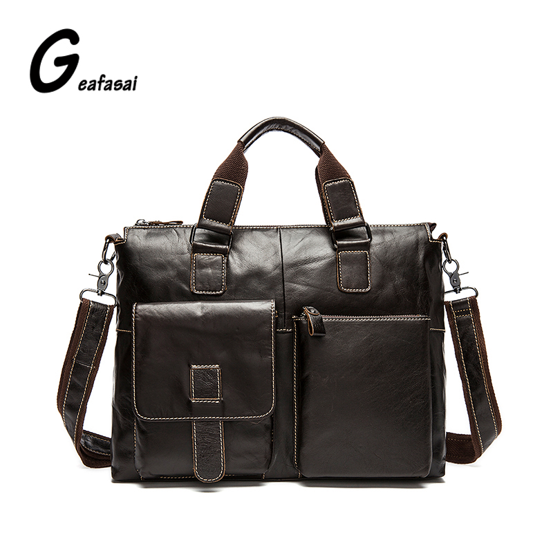black brown khaki 100% real Genuine Cowhide leather business laptop computer shoulder messenger briefcase bags handbags for men brand p kuone genuine cow leather real cowhide men s brown black business computer laptop shoulder bag briefcase handbag male