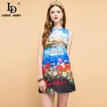 LD LINDA DELLA Summer Fashion Designer Dress Womens Beading Floral Printed Elegant Casual Vacation Ladies A-Line Mini Dresses