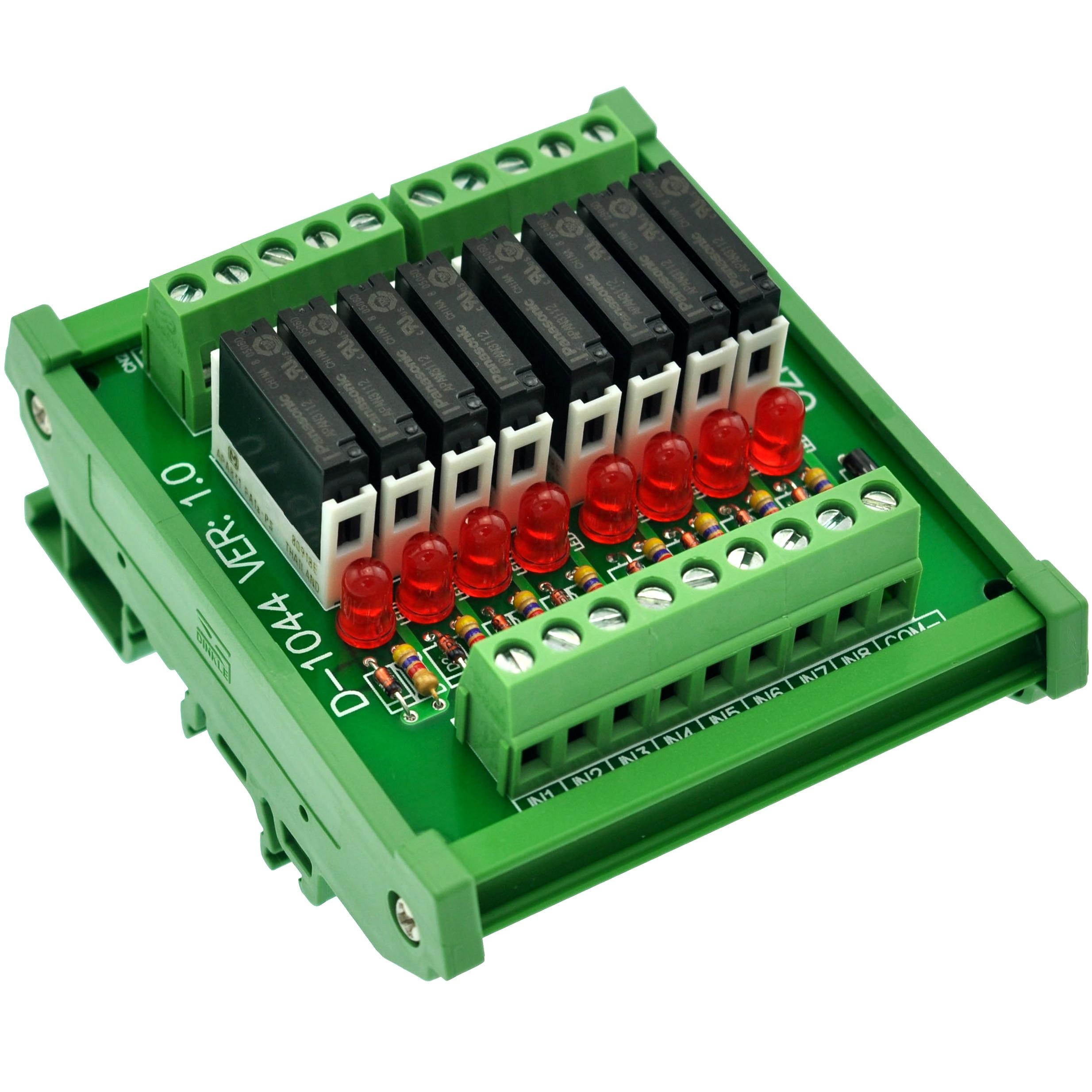 Slim DIN Rail Mount DC12V Source/PNP 8 SPST-NO 5A Power Relay Module, APAN3112