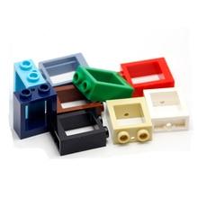 20pcs/lot Window 1x2x2 with glass DIY building Block bricks Parts Compatible Assemble Particles