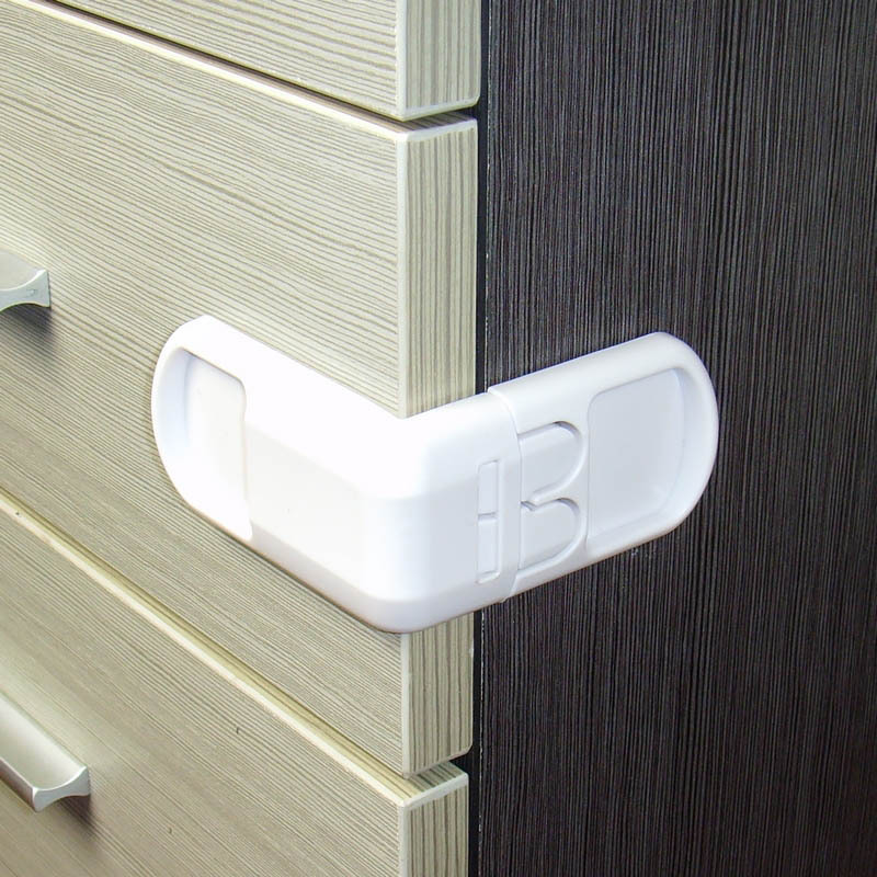 2pcs/set Children Safety Locks Double Button Multifunctional Drawer Door Lock 90 Degree Fridge Lock For Kids Safety Care