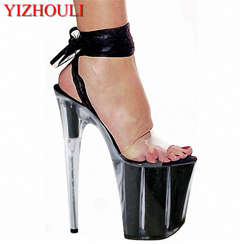 20cm sexy high heel platforms sandals ribbons open toe temptation to shoes 8 inch strappy clear dance shoes black20cm sexy high heel platforms sandals ribbons open toe temptation to shoes 8 inch strappy clear dance shoes black