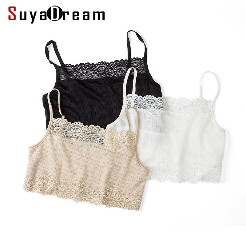 1560d03cc1d Women Tube Top 100% Natural Silk and Lace Bandeau Adjustable Shoulder tape  New Healthy Underwear