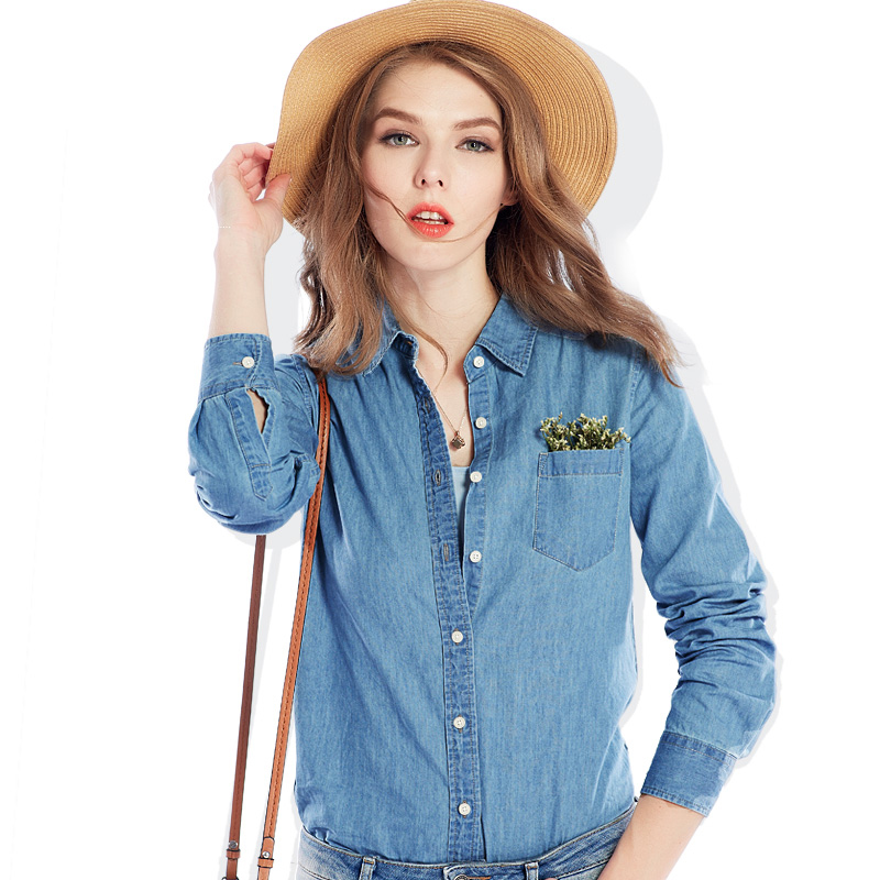 S xl women 2017 spring new fashion long sleeve slim jeans for Jeans shirt for ladies online
