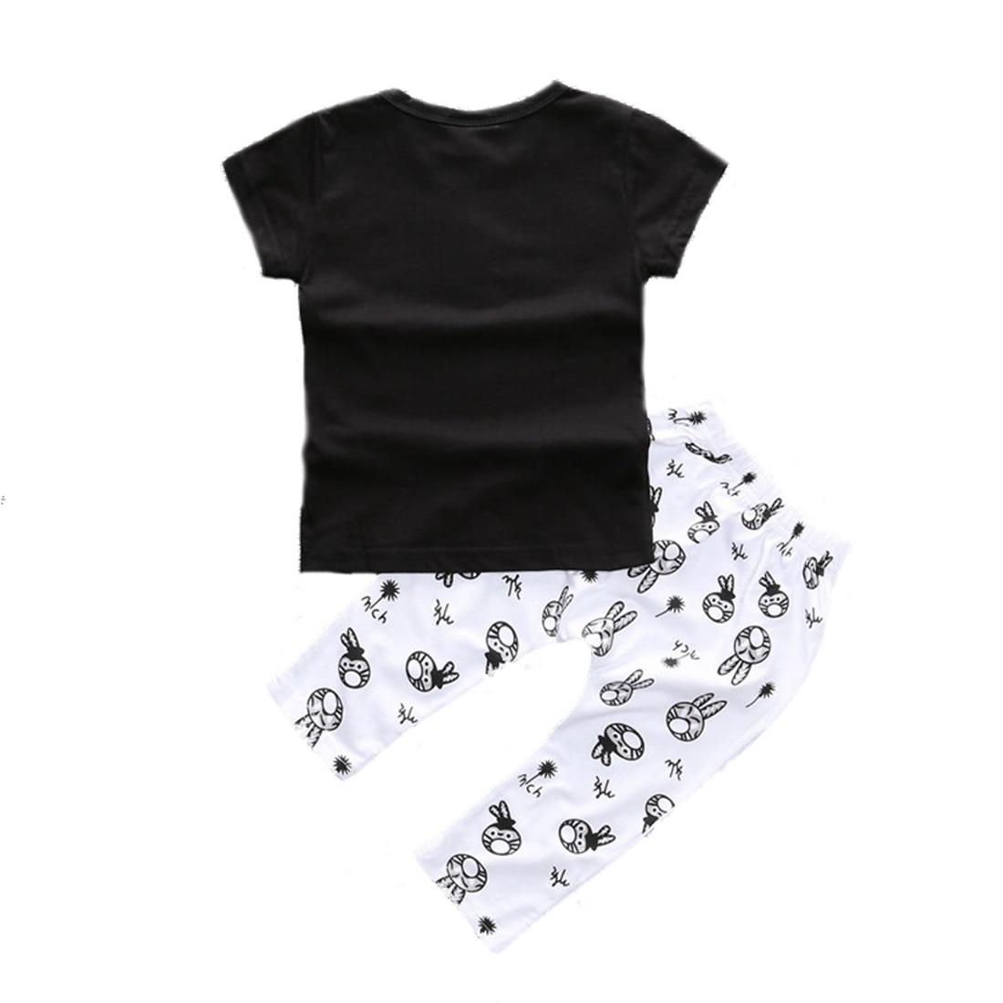 Abwe милый зайчик для маленьких мальчиков футболка для девочек костюм со штанами Комплект одежды 12-18 м