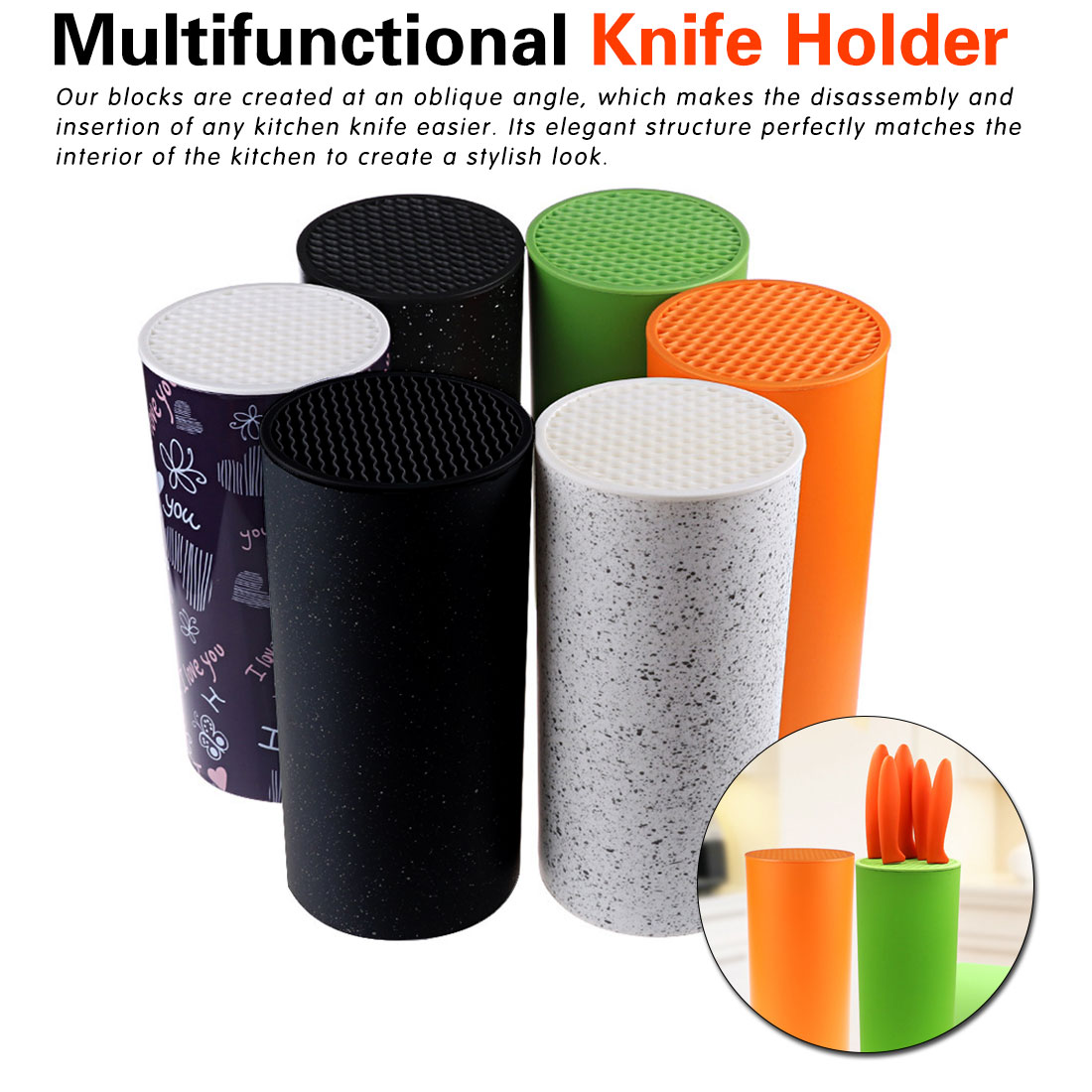 Plastic Tool Holder Multifunctional Plastic Tool Holder Knife Block Knife Stand Sooktops Tube Shelf Chromophous