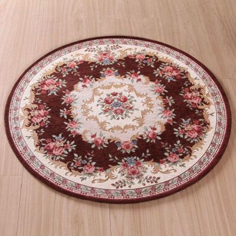Tapis rond tapis Floral tapis de sol tapis antidérapant de Table à thé tapis de Style européen pour salon
