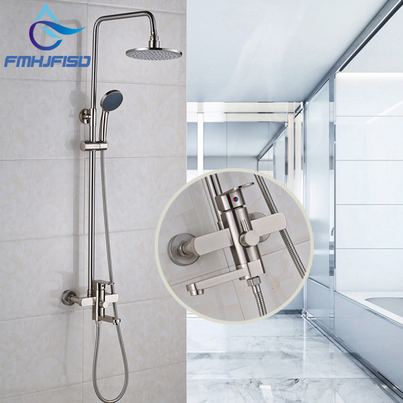 Wholesale And Retail Brushed Nickel Bathroom Shower Faucet with 8 Shower Head