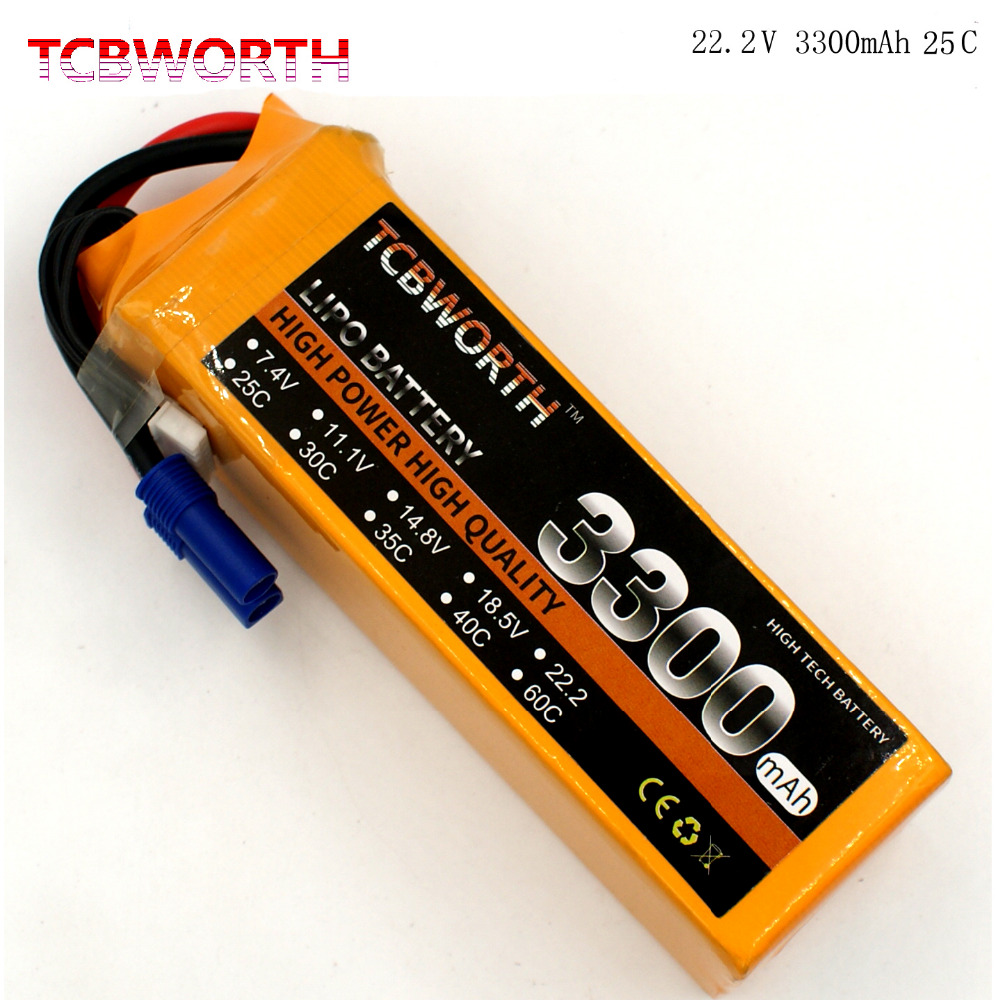 TCBWORTH 6S 22.2V 3300mAh 25C RC Airplane LiPo battery For RC Helicopter Quadrotor Drone Car boat Truck Li-ion battery tcbworth 11 1v 3300mah 60c 120c 3s rc lipo battery for rc airplane helicopter quadrotor drone car boat truck li ion battery