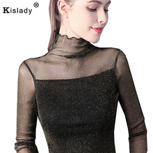 24cbfc10928 Kislady 2019 Sexy Women T Shirt See Through Transparent Mesh Turtleneck Tops  Long Sleeve Sheer Slim Ladies T shirts Plus Size-in T-Shirts from Women s  ...