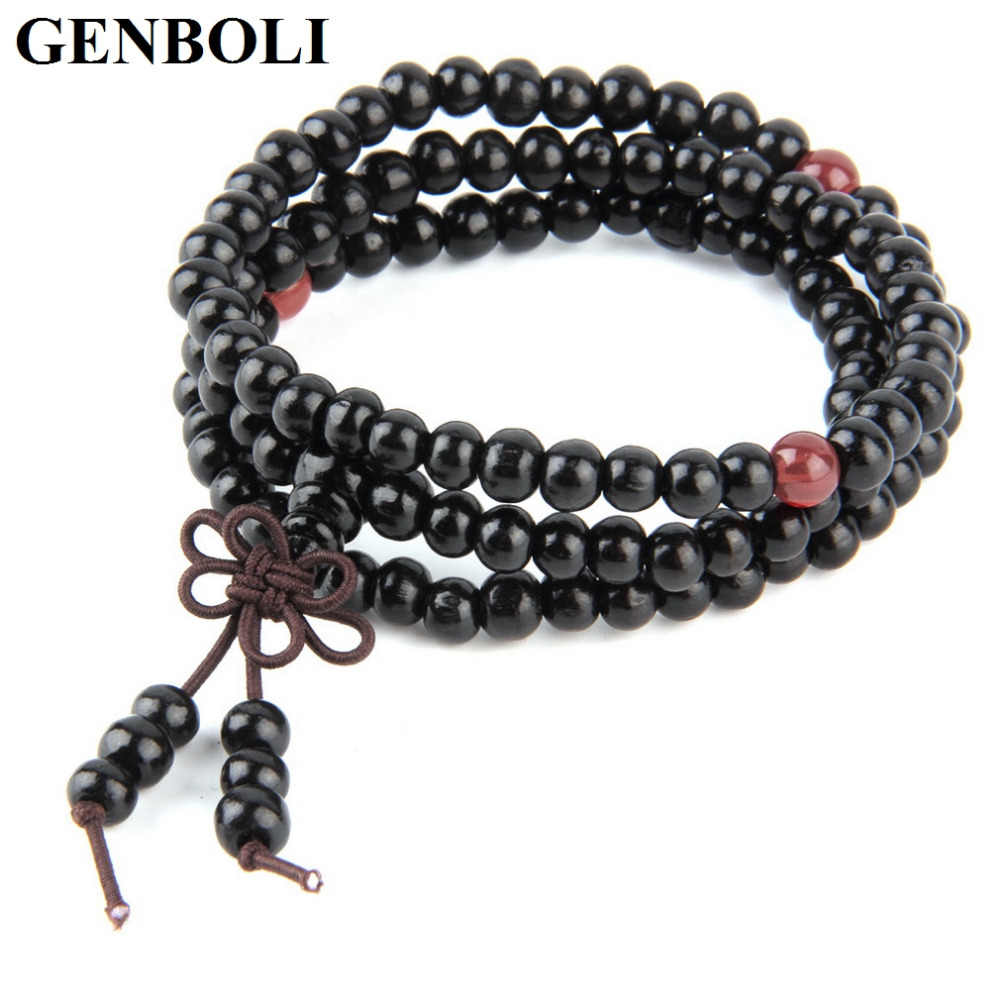 GENBOLI 4 Colors 6mm Natural Sandalwood Buddhist Buddha Meditation 108 beads Wood Prayer Bead Mala Bracelet Fashion Jewelry