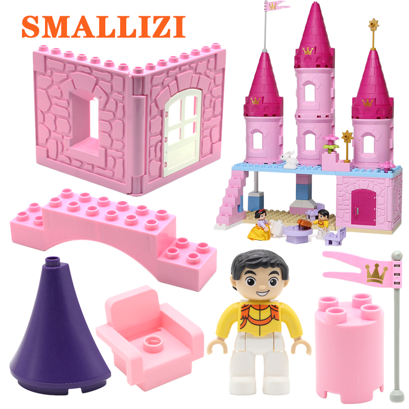 Castle Small Pink Tower Model Big Building Blocks Accessories Bricks Compatible With Duplo Figure Sets Toys For Children Gift Toys & Hobbies Blocks