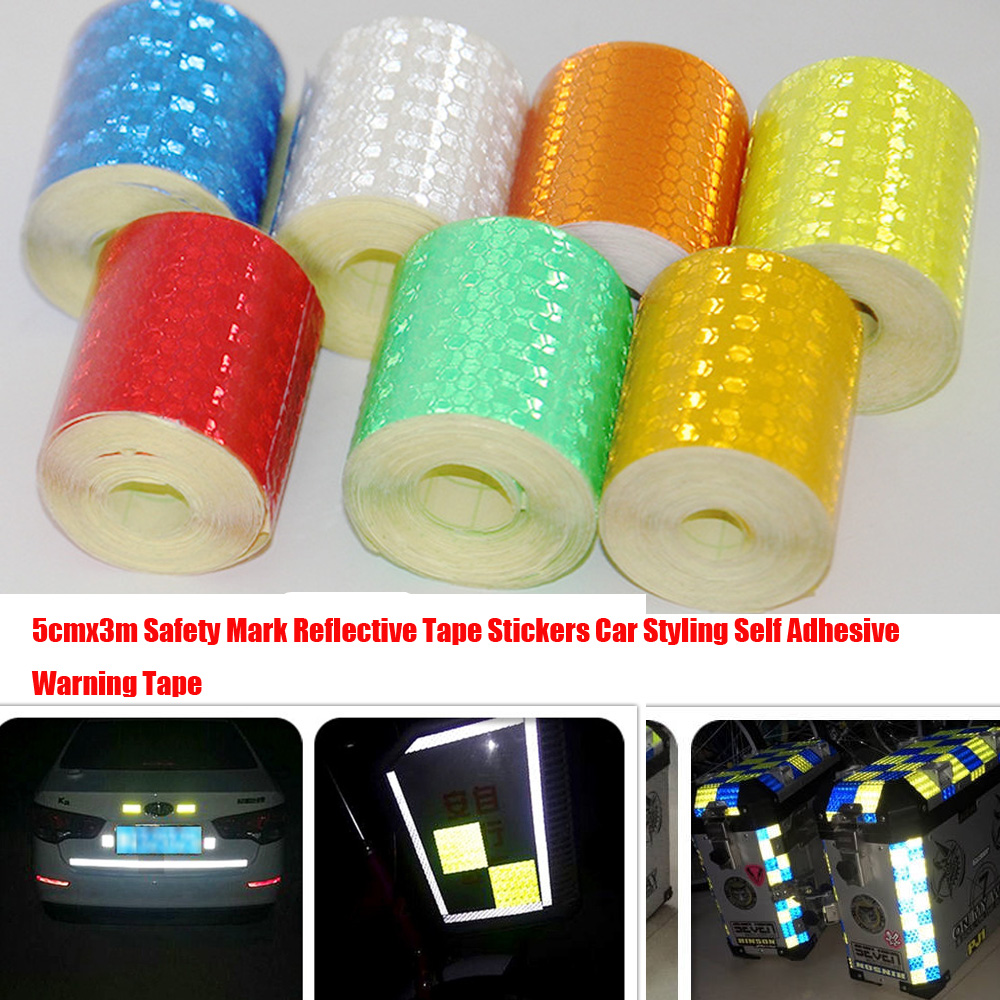 Knight 5cmx3m Safety Mark Reflective Tape Stickers Car Styling Self Adhesive Warning Tape Automobiles Motorcycle Reflective Film