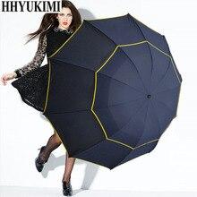 130cm Big Top Quality Umbrella Men Rain Woman Windproof Large Paraguas Male Women Sun 3 Floding Outdoor Parapluie