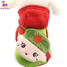 DOGBABY Dog Coat Jacket 100% Cotton Winter Pet Hoodies Hat Design Cute Cartoon Pattern Two Legs Dog Clothes Size XS S M L XL XXL