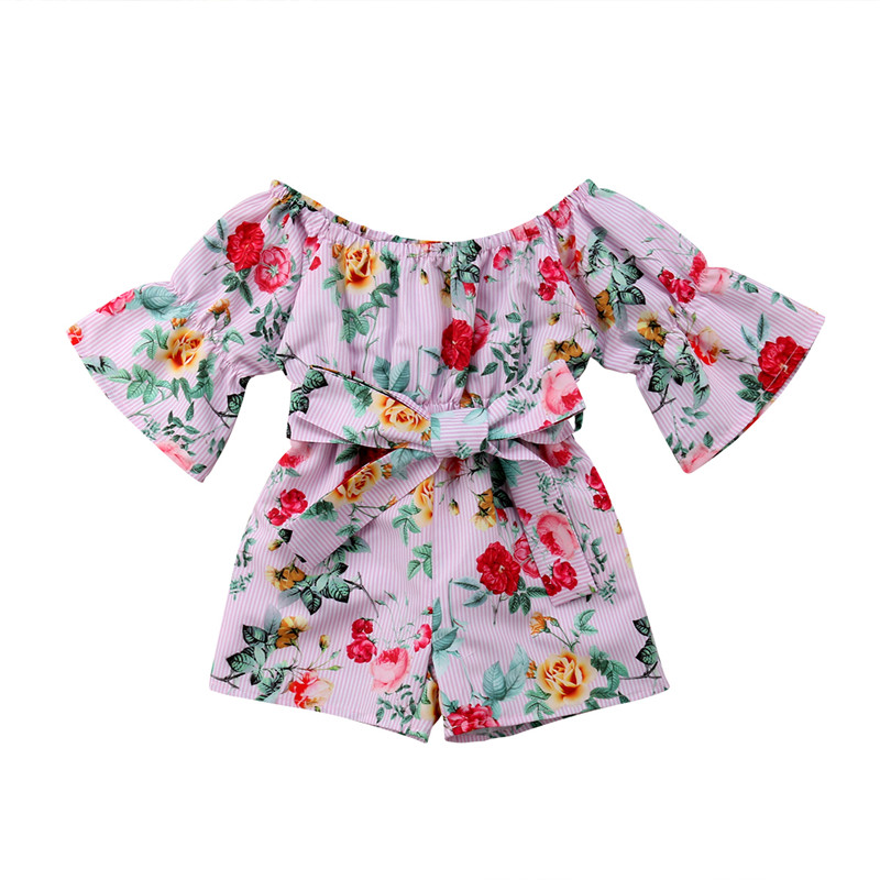 Summer Children Jumpsuit With Sashes Fashion Baby Kid Girl Off-shoulder Romper Floral Printed Striped Jumpsuit Playsuit Outfits