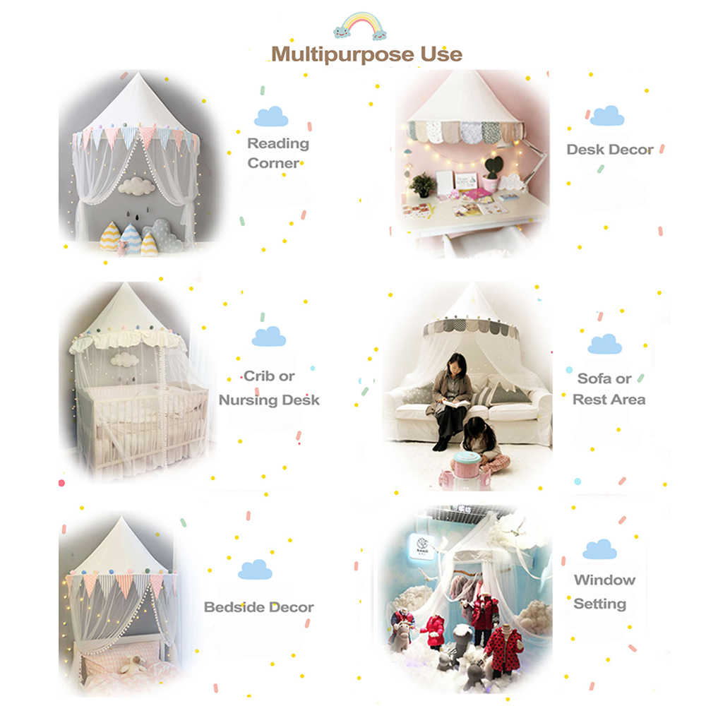 Kids Play House Tent Baby Mosquito Net Bed Canopy Portable Crib Nursery Curtains for Bedroom Girls Boys Decorative Wall Hanging