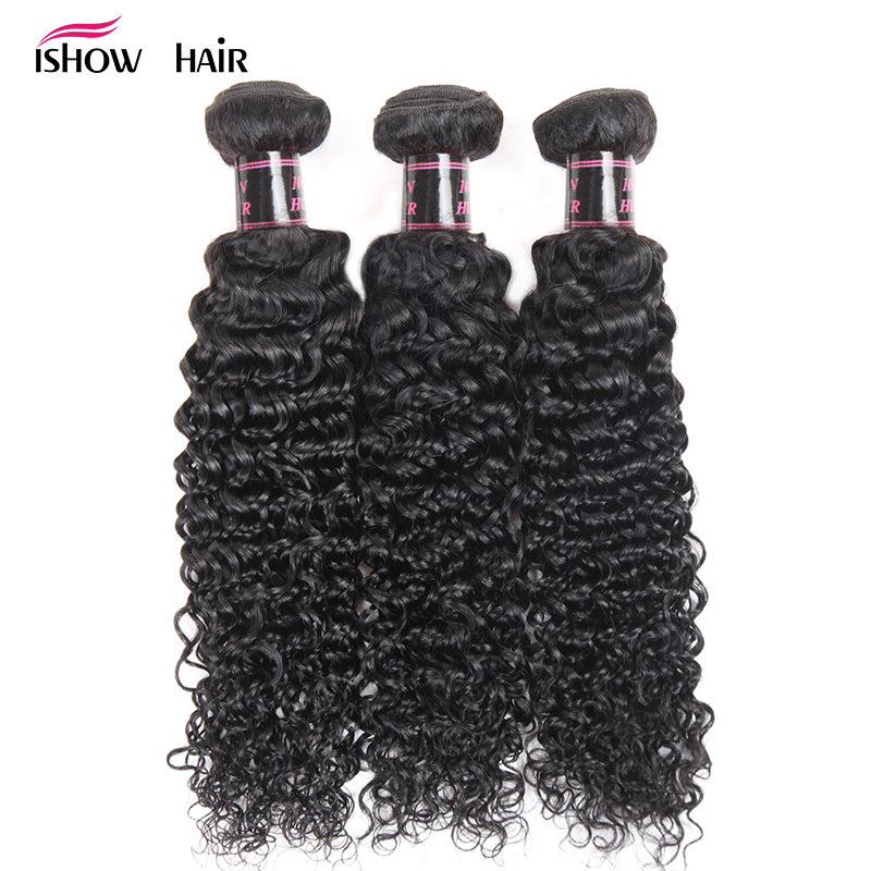 Ishow Hair Malaysian Curly Hair Weave Bundles 100% Human Hair Bundles - Menneskelig hår (for svart)