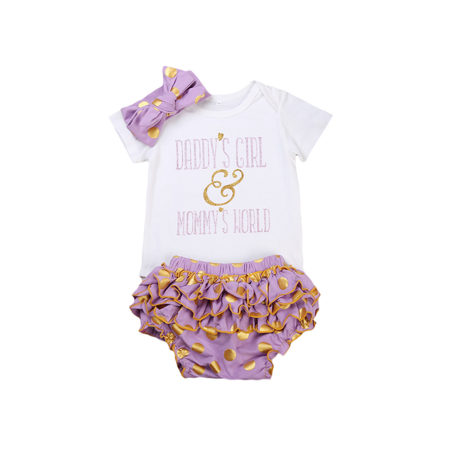 69afe8f5db5 3PCS Set Newborn Baby Girls Clothes Set 2017 Summer Daddy s Girl Mommy s  World Letter printed Romper+Tutu Skirted Shorts Outfit