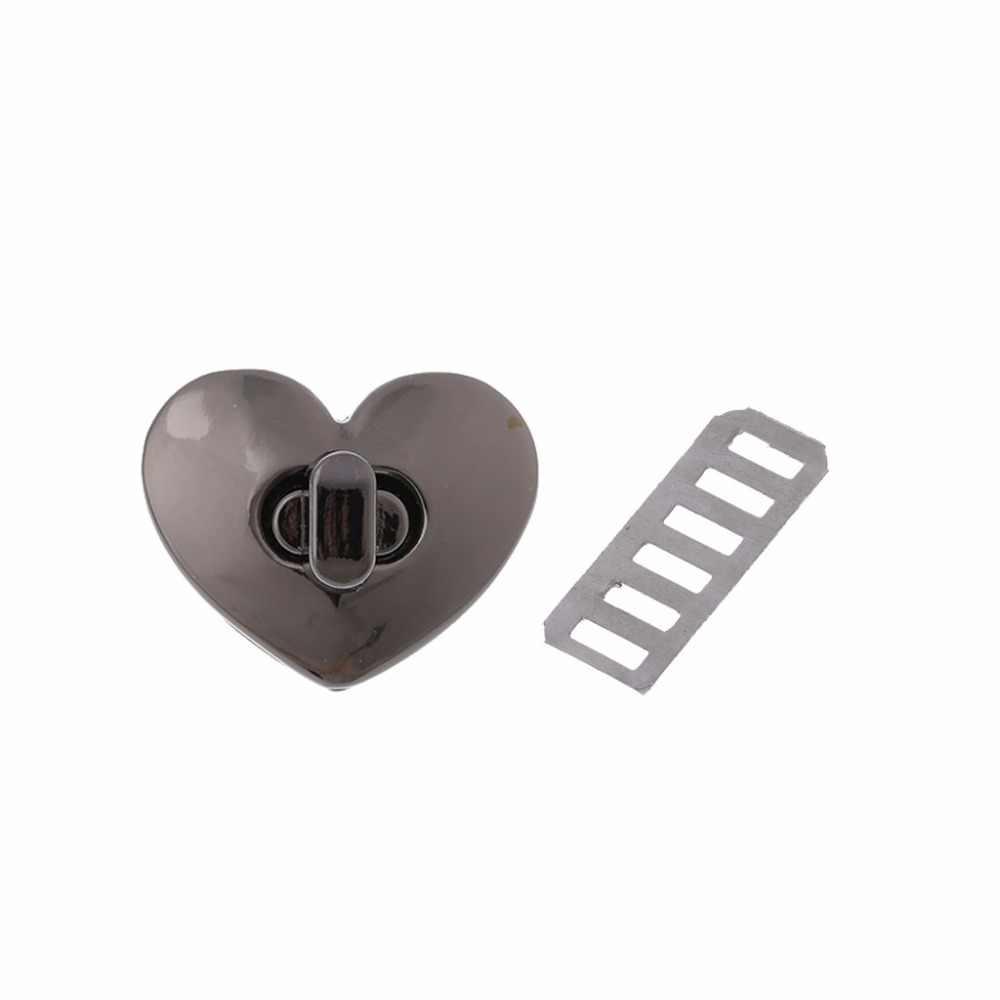 THINKTHENDO חדש לב צורת אבזם תור מנעול טוויסט מנעול מתכת חומרה עבור DIY תיק תיק ארנק נועלים מנעולים