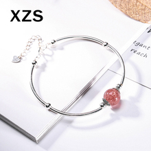 100% Genuine S925 Sterling Silver Chinese Style Strawberry Quartz Bracelet Women Luxury Valentines Day Gift Jewelry SLCN-18009