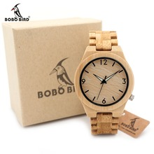 BOBO BIRD D27 Bamboo Wooden Watch for Men Unique Lug Design Top Brand Luxury Quartz Wood Band Night Green Pointer Wrist Watches
