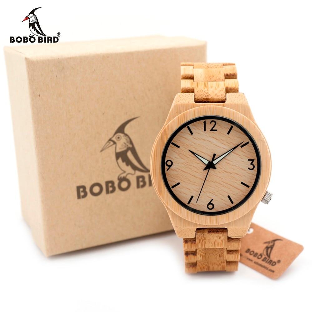 BOBO BIRD D27 Full Bamboo Wooden font b Watch b font for Men Top Brand Luxury
