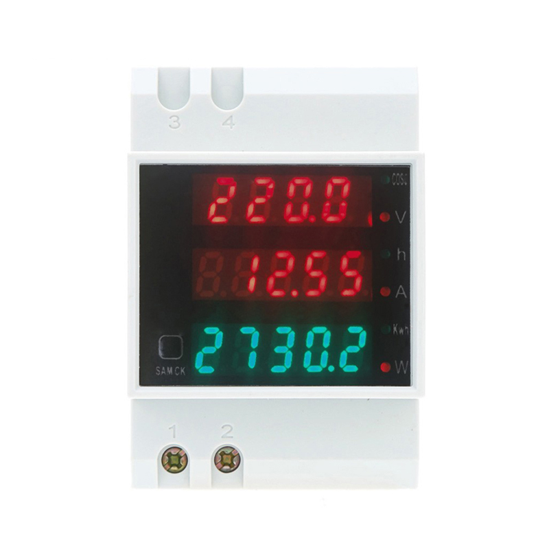 Rail Type Digital Multifuction Power Meter AC80-300V Voltmeter AC 0-100A Ammeter Energy Meter D52-2047 ls601 silver multifuction outlet power