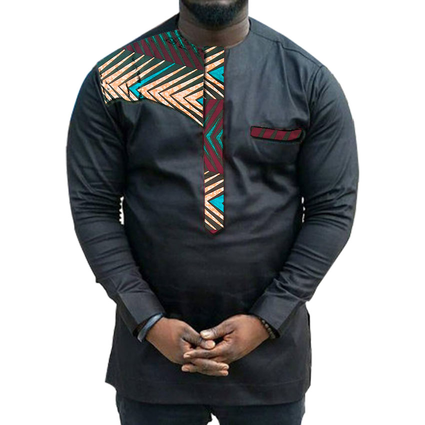 African clothing men 39 s shirt o neck Ankara black with print tops patchwork customize wear male dashiki shirt for wedding in T Shirts from Men 39 s Clothing