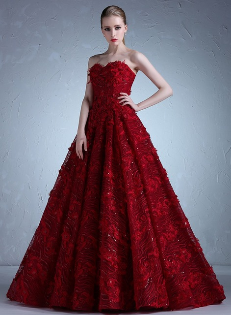 Real Photo Dark Red Wedding Dresses 2017 Strapless Lace Sequins ...