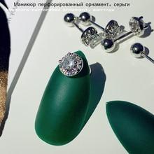 Japanese and Korean fashion trend nail piercing ornament, hypoallergenic thread zircon round four-claw titanium