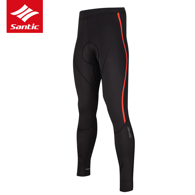 Santic Men Winter Cycling Pants Thermal Fleece Mountain Road Bike Pants Windproof Warmer Bicycle Long Pants Bermuda Ciclismo santic men winter cycling pants thermal fleece windproof mtb road bike pants 4d padded bicycle long pants cycling clothes