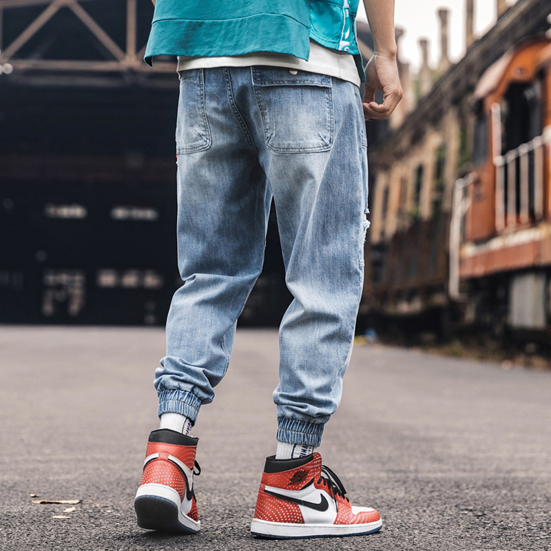 Fashion Streetwear Men Jeans Spliced Designer Red Stripe Harem Pants Loose Ripped Jeans Men Slack Bottom Hip Hop Joggers Jeans in Jeans from Men 39 s Clothing