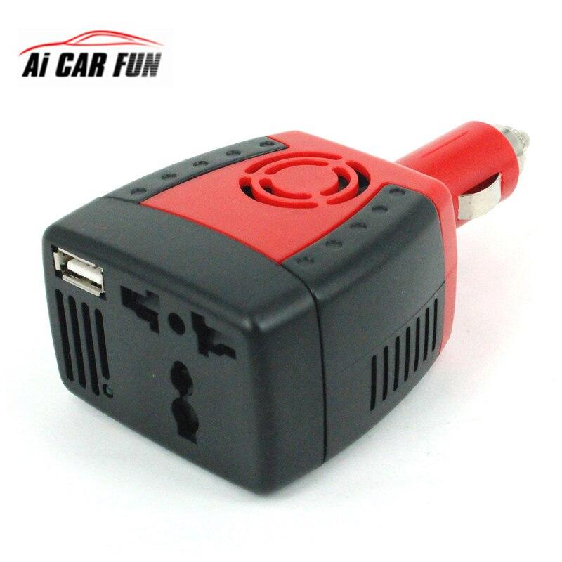 150W 2100mA voiture onduleur USB alimentation cc 12 V-AC 220 V convertisseur transformateur ordinateur portable chargeur de téléphone portable prise universelle