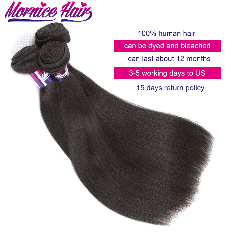 Mornice 3Pcs/Lot Indian Straight Hair Weave 3 Bundles Natural Color Hair Extension 100% Human Hair Non Remy Hair Bundles