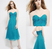 Elegant Party Knee-Length Homecoming Chiffon  Strapless Ruched A Line 2016 Beach Sweetheart Knee-Length Bridesmaid Dresses DL130