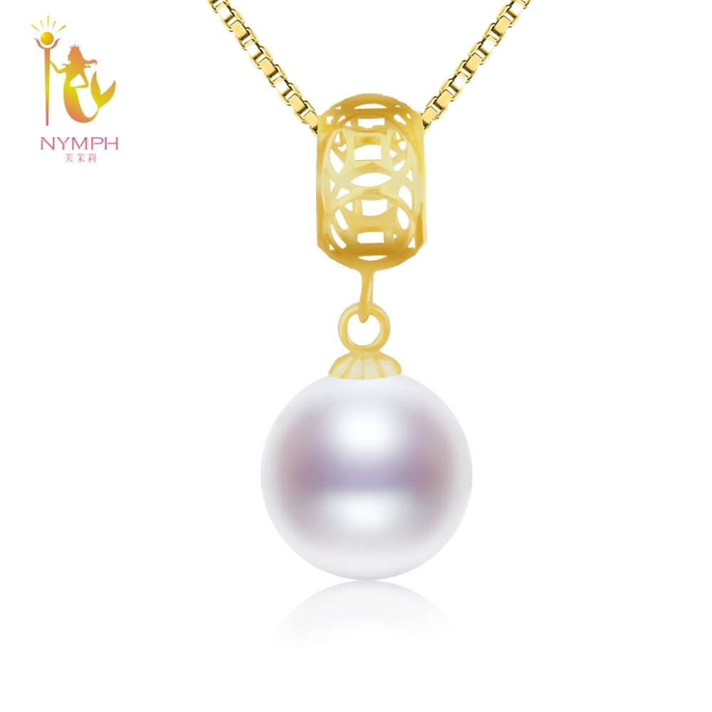 NYMPH 18K Gold Big Round Pearl Pendant Necklace Chock Jewelry Natural Freshwater pearl Wedding Party For Women 9-10mm Girl D226 nymph brand 18k 9 10mm pearl pendant necklaces for women yellow gold pearl fine jewelry gift party luxury lifestyle