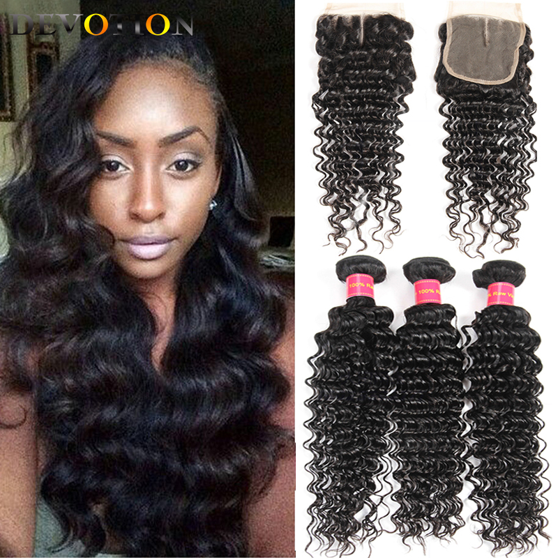 Indian Virgin Human Hair Deep Wave 3 Bundles with Closure Raw Indian Hair Bundles with Closure Weave Bundles Hair Extensions