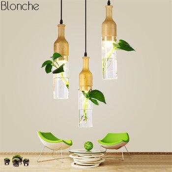 Luces Colgantes Modernas LED De Madera + Lámpara Colgante De Vidrio Para Cocina Sala De Estar Comedor Nórdico Loft Decoración Botella Luz Accesorios