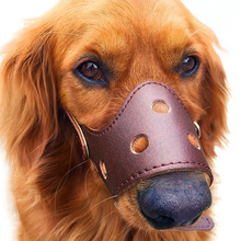 Adjustable Anti-biting Dog Muzzle Leather,Breathable Safety Pet Puppy Muzzles Mask for Biting and Barking