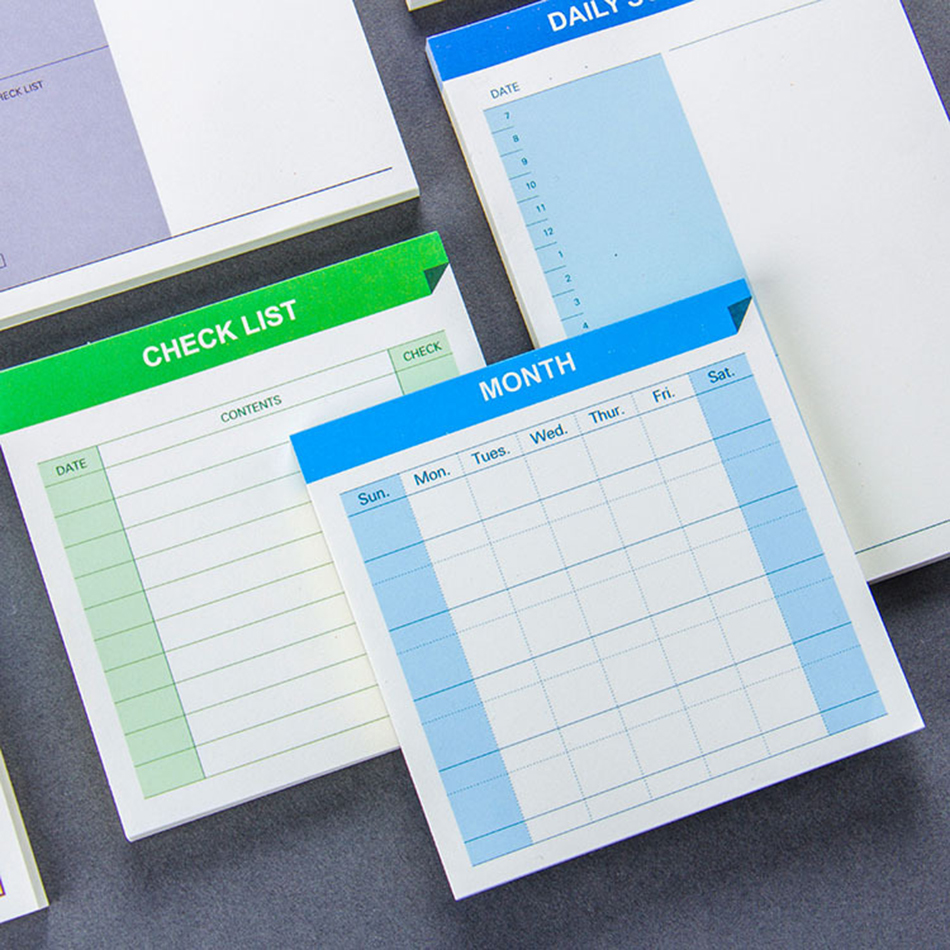 Daily Schedule Weekly Month Planner Check List Portable Small Book Memo Pad Sticky Notes Stationery School Supply